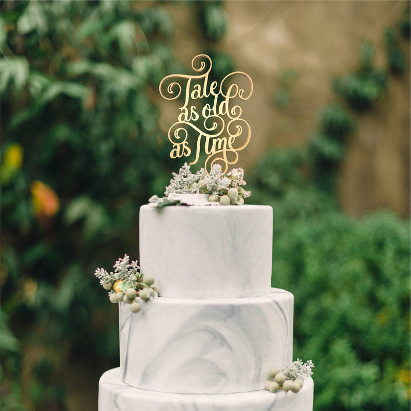 Delicate Custom Natural Personalized Tale as Old as Time Cake Topper  General Cake Topper  - MatchMadeAbroad