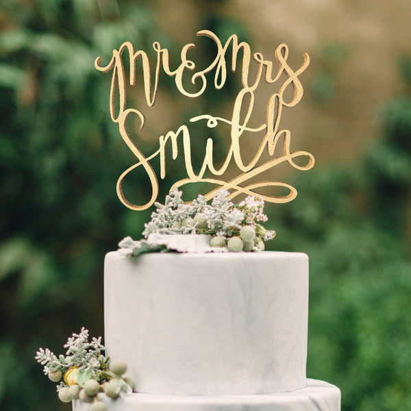 Custom Calligraphy Wood Vintage Mr and Mrs Smith Cake Topper  Personalised Cake Topper  - GlobalWedding