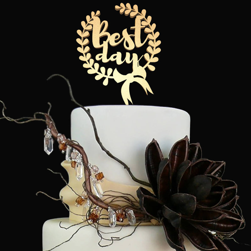 Gold Best Day Handmade Monogram Silver Cake Topper  General Cake Topper  - GlobalWedding