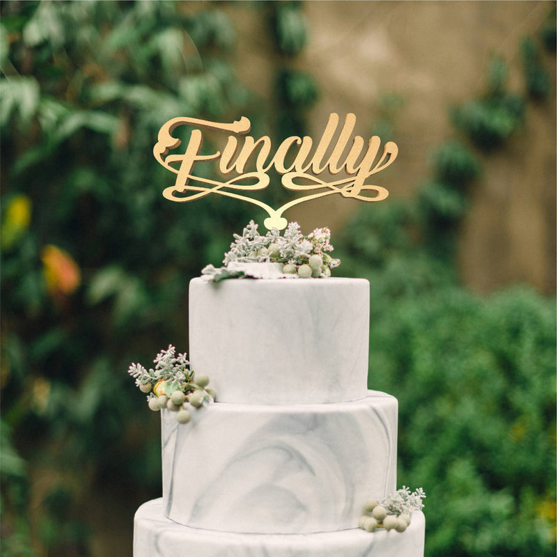 Metallic Finally Wedding Cursive Mirror Cake Topper  General Cake Topper  - GlobalWedding