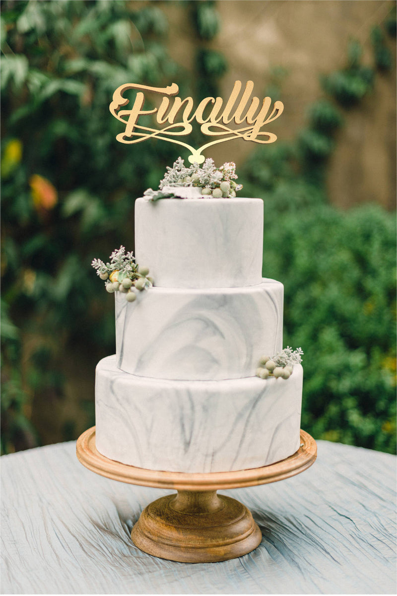 Metallic Finally Wedding Cursive Mirror Cake Topper  General Cake Topper  - MatchMadeAbroad