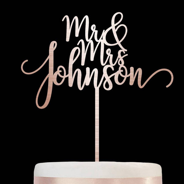 Personalised Wedding Name Mr and Mrs Cake Topper