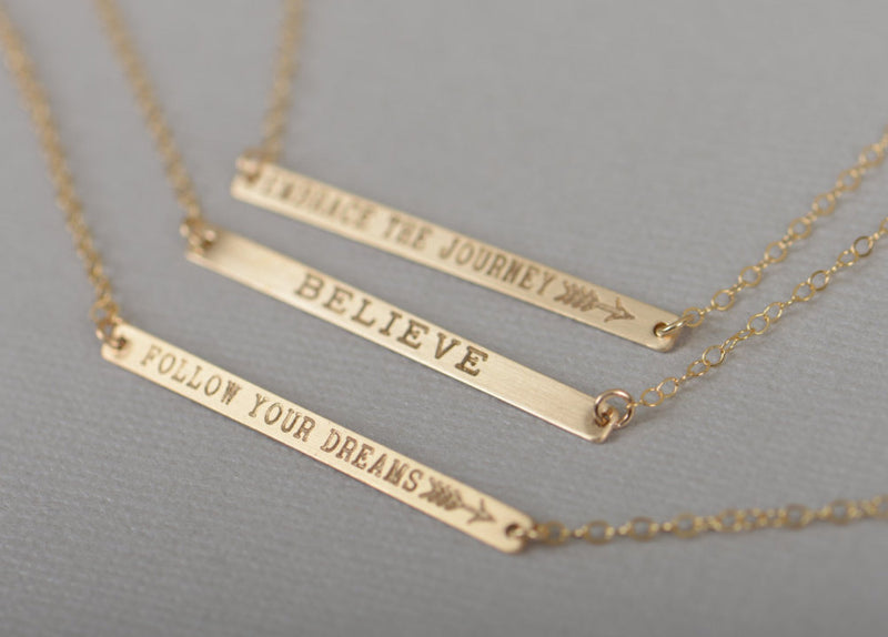 Personalized Skinny Bar Necklace, Customized Gold Bar Necklace, Silver, Gold or Rose Gold Large Bar Necklace, Mother's Day