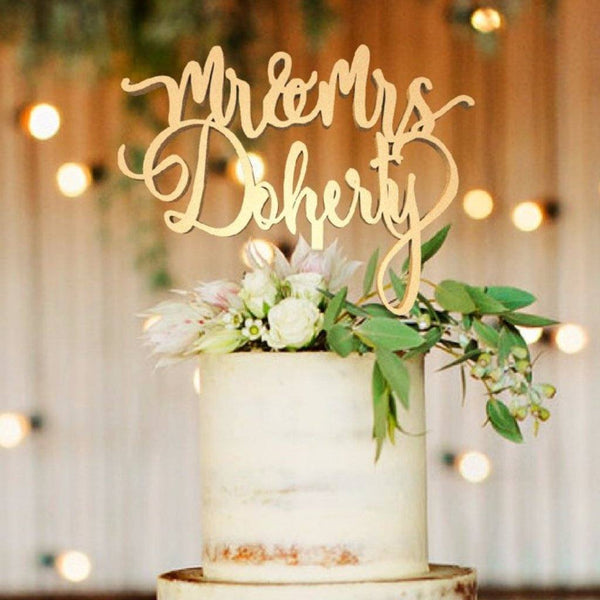 Customised Wedding Cake Topper, Mr & Mrs Doherty  Personalised Cake Topper  - GlobalWedding
