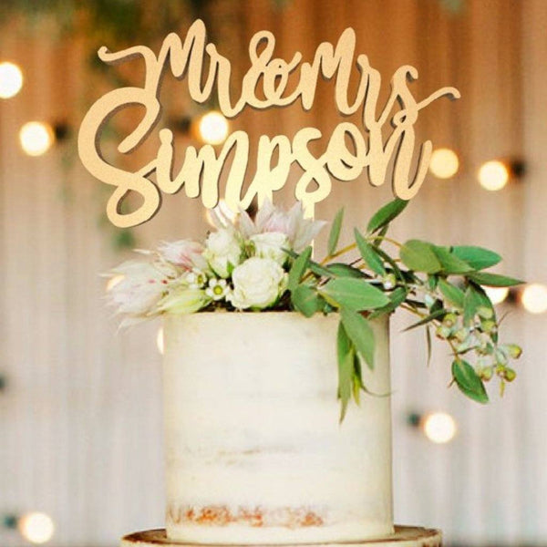Personalised Cake Topper - Customised Wedding Cake Topper, Mr & Mrs Simpson