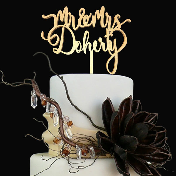 Customised Wedding Cake Topper, Mr & Mrs Doherty  Personalised Cake Topper  - MatchMadeAbroad