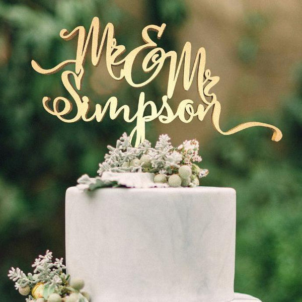 Customised Wedding Cake Topper, Mr & Mrs Simpson  Personalised Cake Topper  - GlobalWedding