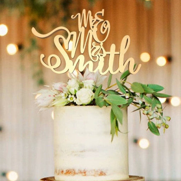 Customised Wedding Cake Topper, Mr & Mrs Smith  Personalised Cake Topper  - GlobalWedding