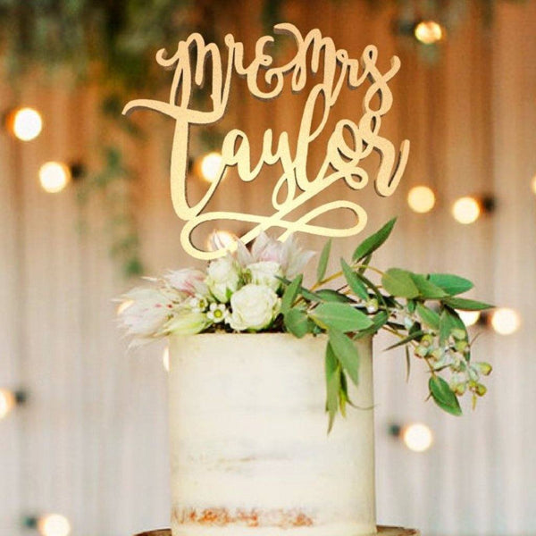 Customised Wedding Cake Topper, Mr & Mrs Taylor  Personalised Cake Topper  - GlobalWedding