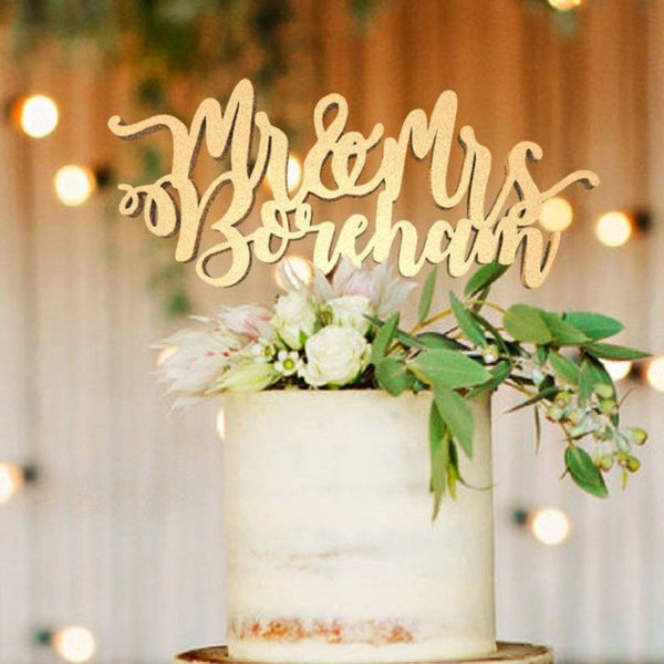 Customized Wedding Cake Topper, Cake Topper Mr & Mrs Boreham  Personalised Cake Topper  - GlobalWedding