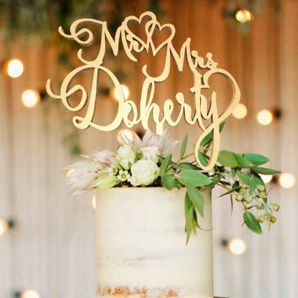 Customized Wedding Cake Topper, Cake Topper Mr & Mrs Doherty  Personalised Cake Topper  - GlobalWedding