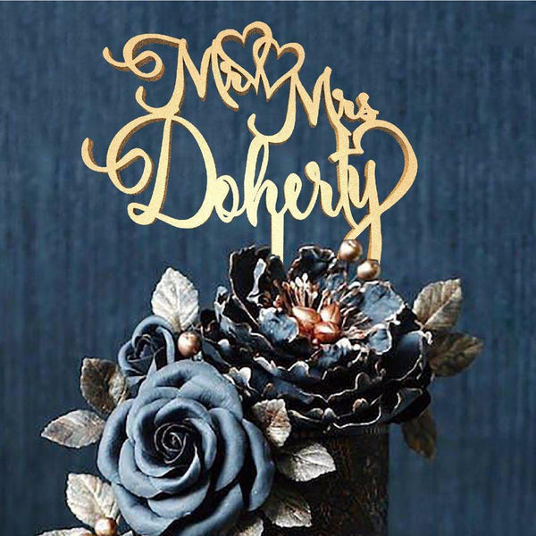 Customized Wedding Cake Topper, Cake Topper Mr & Mrs Doherty  Personalised Cake Topper  - MatchMadeAbroad