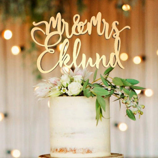Customized Wedding Cake Topper, Cake Topper Mr & Mrs Eklund  Personalised Cake Topper  - MatchMadeAbroad