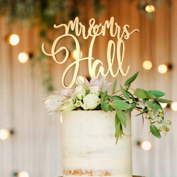 Customized Wedding Cake Topper, Mr & Mrs Hall  Personalised Cake Topper  - GlobalWedding