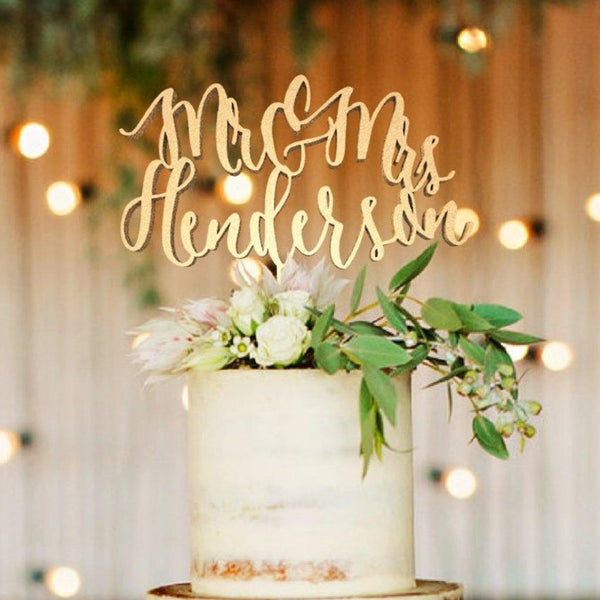 Personalised Cake Topper - Customized Wedding Cake Topper, Mr & Mrs Henderson
