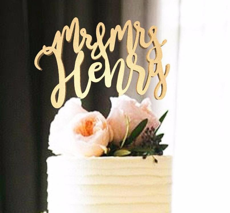 Customized Wedding Cake Topper, Mr & Mrs Henry  Personalised Cake Topper  - GlobalWedding