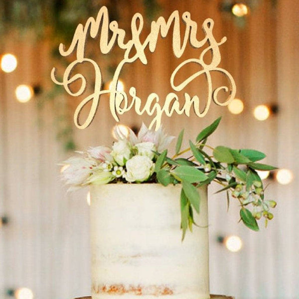 Customized Wedding Cake Topper, Mr & Mrs Horgan  Personalised Cake Topper  - GlobalWedding