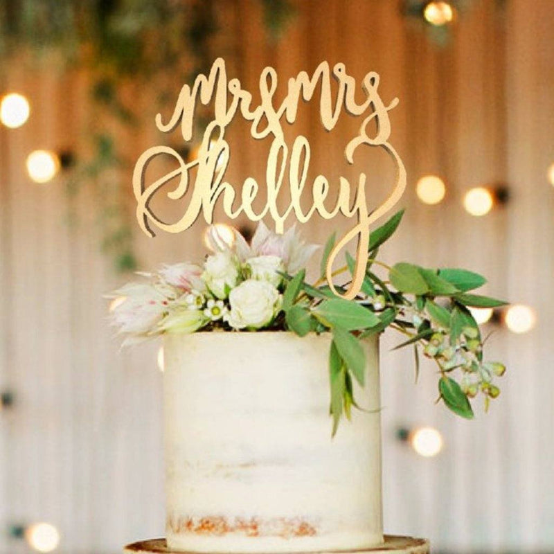 Customized Wedding Cake Topper, Mr & Mrs Shelley  Personalised Cake Topper  - GlobalWedding