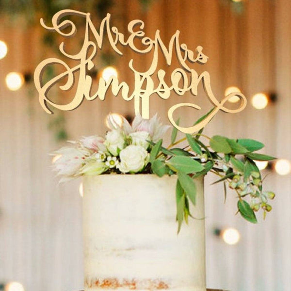Customized Wedding Cake Topper, Mr & Mrs Simpson  Personalised Cake Topper  - GlobalWedding