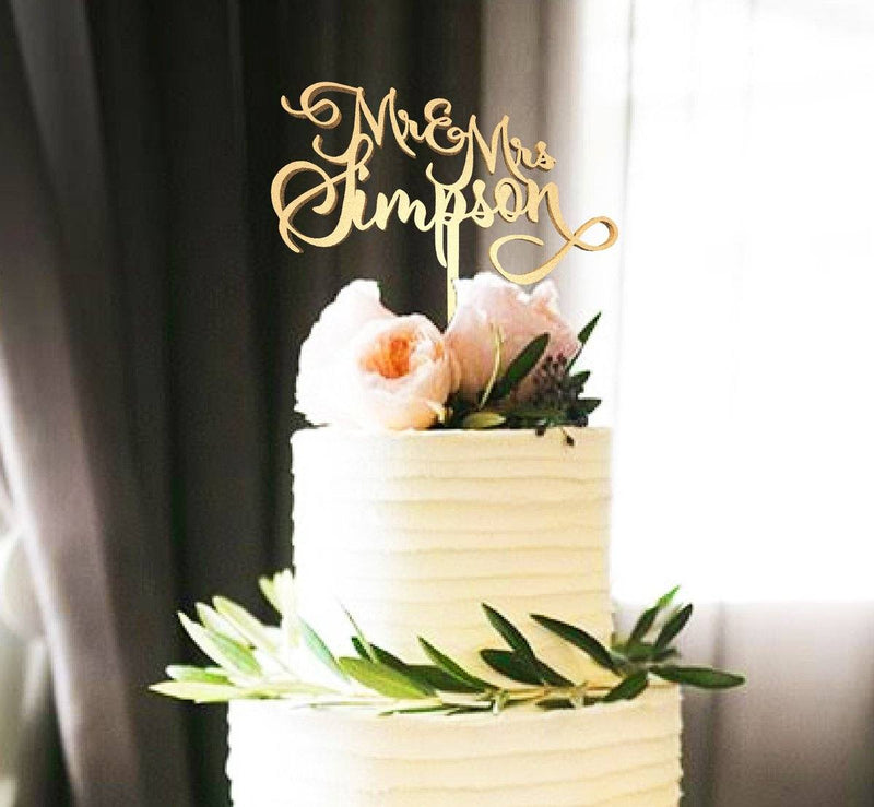 Customized Wedding Cake Topper, Mr & Mrs Simpson  Personalised Cake Topper  - MatchMadeAbroad