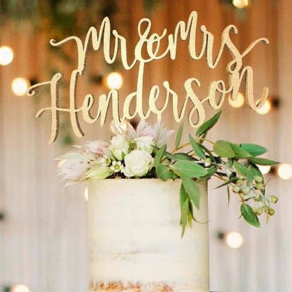Personalised Wedding Cake Topper, Mr. and Mrs. Henderson - GlobalWedding