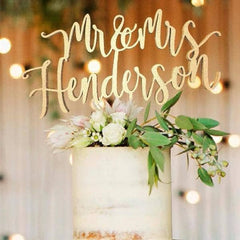 Personalised Wedding Cake Topper, Mr. and Mrs. Henderson