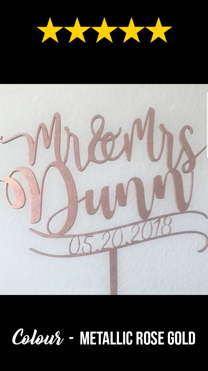 Customized Wedding Cake Topper, Mr & Mrs Murray  Personalised Cake Topper  - GlobalWedding