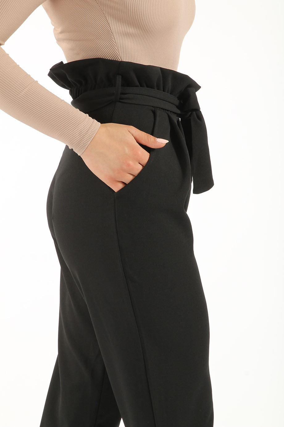 POLLY PLEATED CIGARETTE TROUSERS BLACK