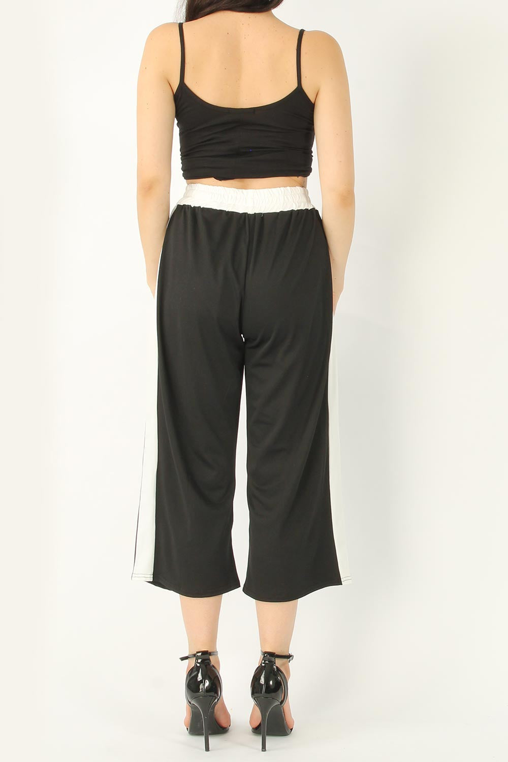 LISA WIDE LEG STRIPE CULOTTE PANTS BLACK