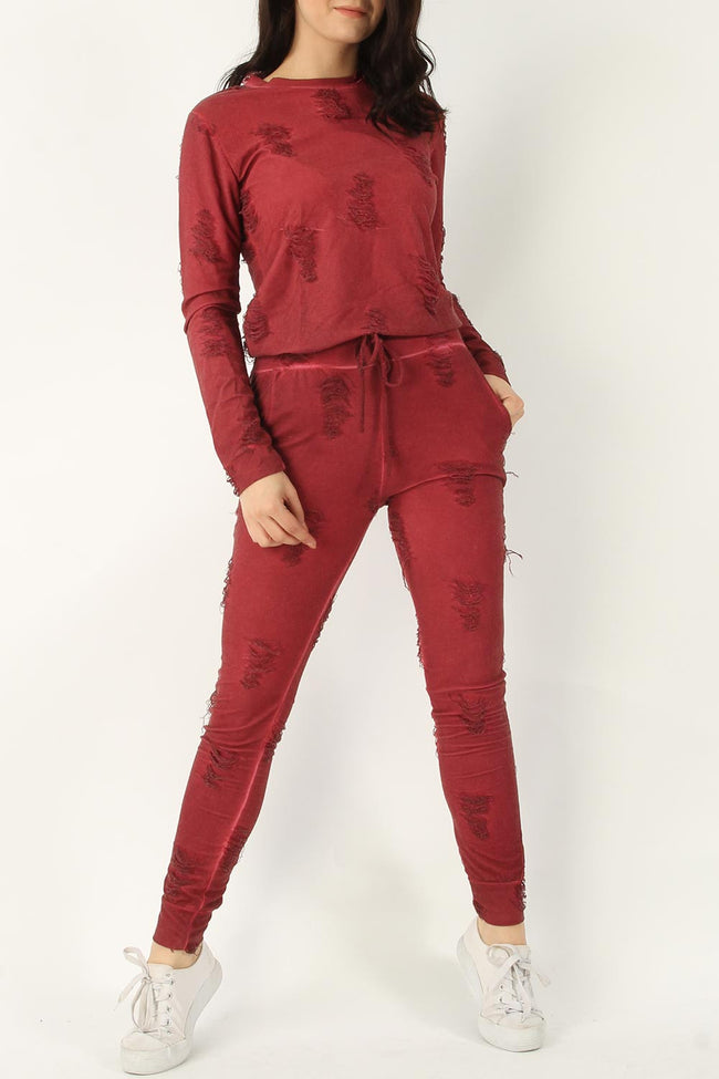 LUCY DISTRESSED TOP & JOGGER LOUNGE SUIT WINE