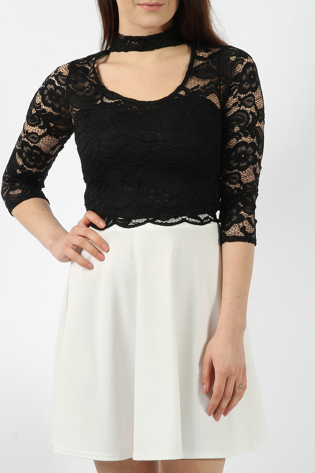 LUCY LACE CHOKER CROP TOP BLACK