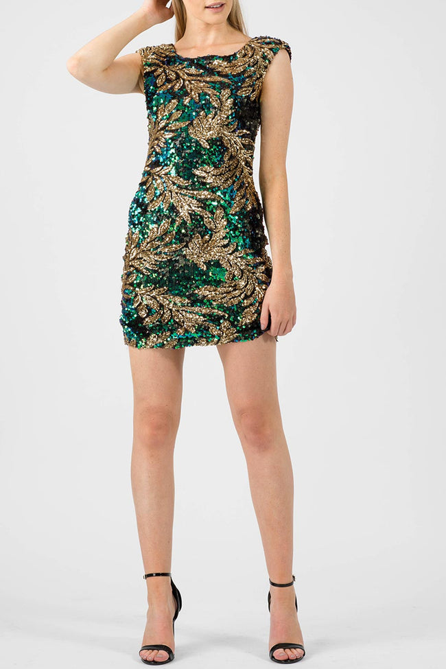 LEVI LEAF SEQUIN BODYCON DRESS GREEN