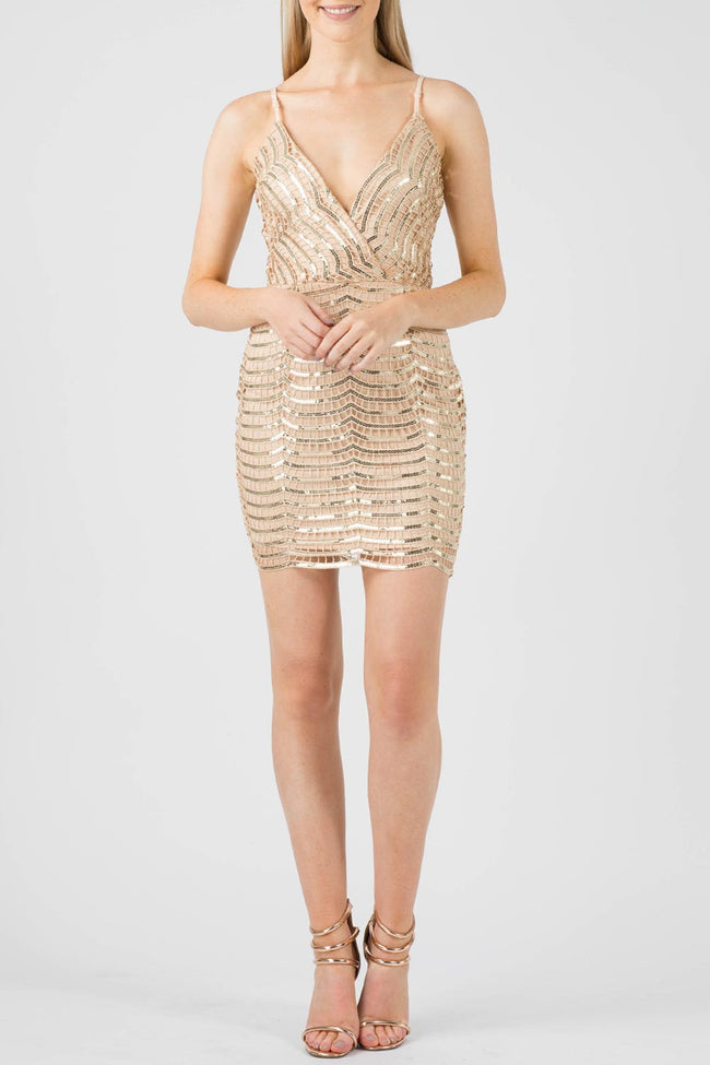 SUZY SEQUIN LACE CAMI DRESS GOLD