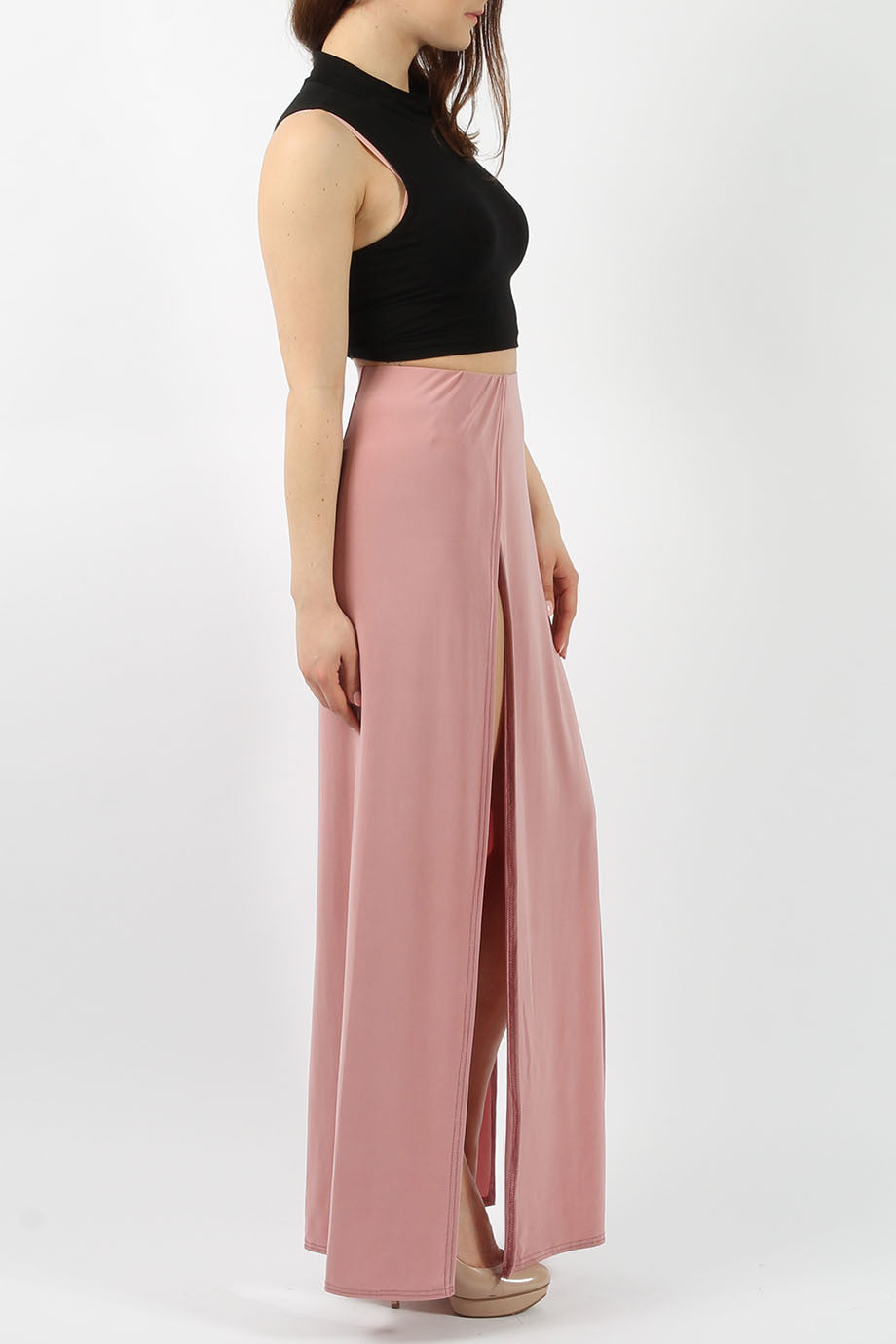 TINA DOUBLE SPLIT SLINKY MAXI SKIRT PINK