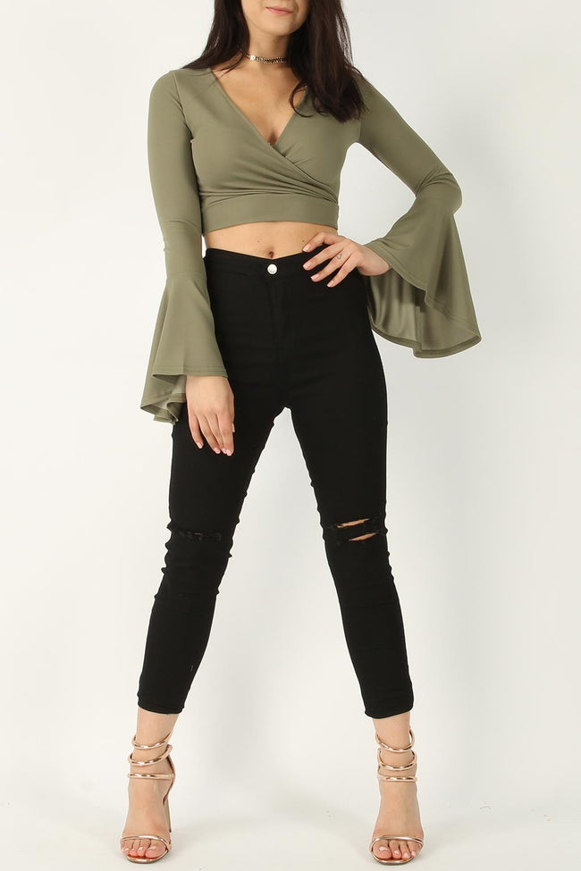 RIA WRAP CROPPED FRILL TOP KHAKI