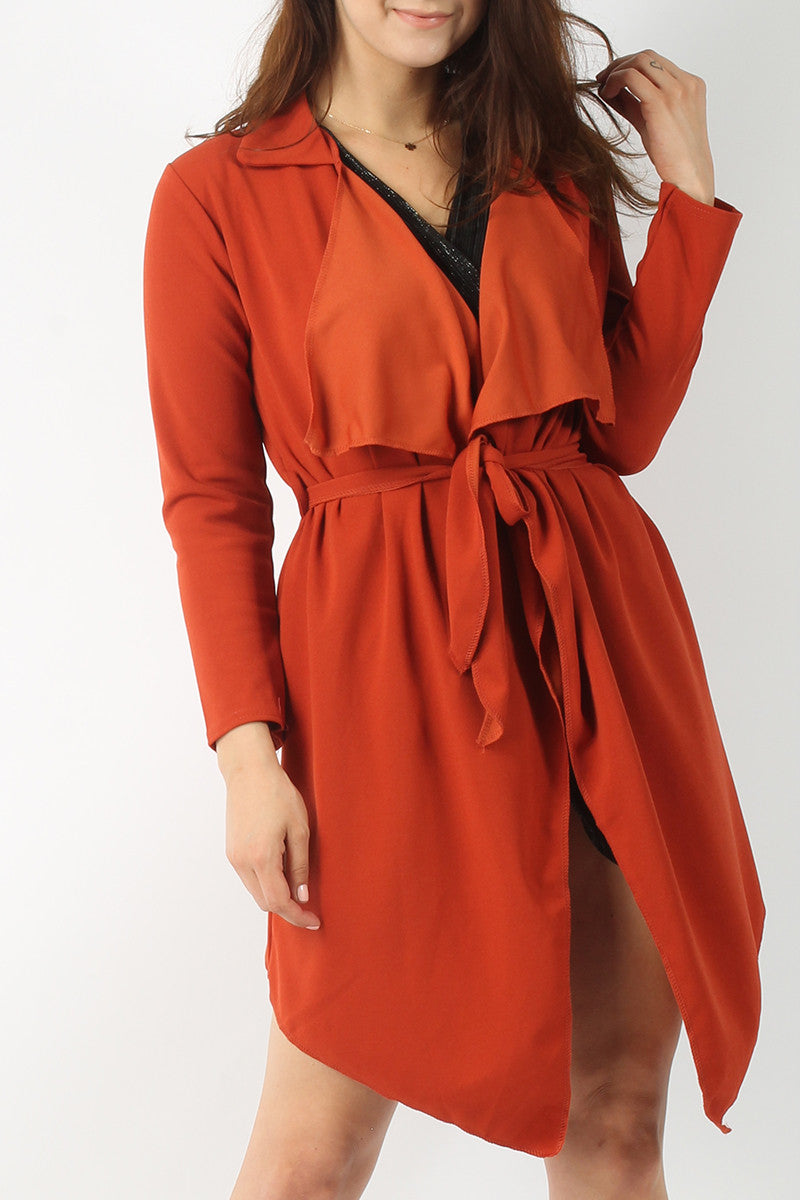 TINA BELTED WATERFALL COLLAR COAT AMBER