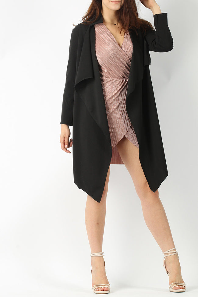 TINA BELTED WATERFALL COLLAR COAT BLACK