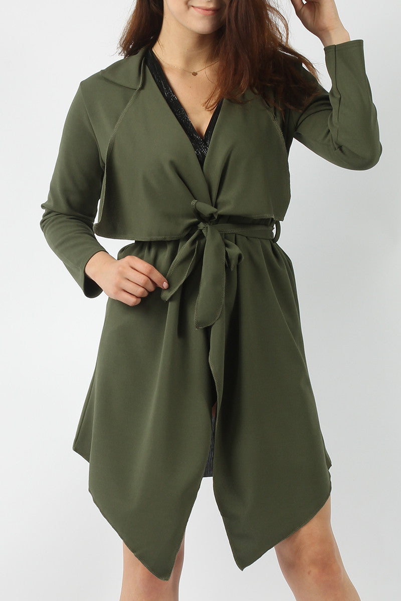 TINA BELTED WATERFALL COLLAR COAT KHAKI