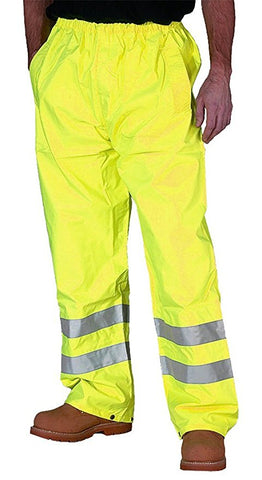 Mens Hi Vis Waterproof Rain Over Trousers in Orange