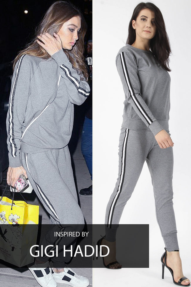 GIGI STRIPE TOP & JOGGERS LOUNGE SUIT GREY