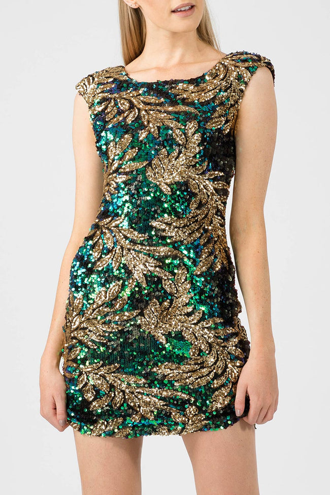 IVY LEAF SEQUIN BODYCON DRESS