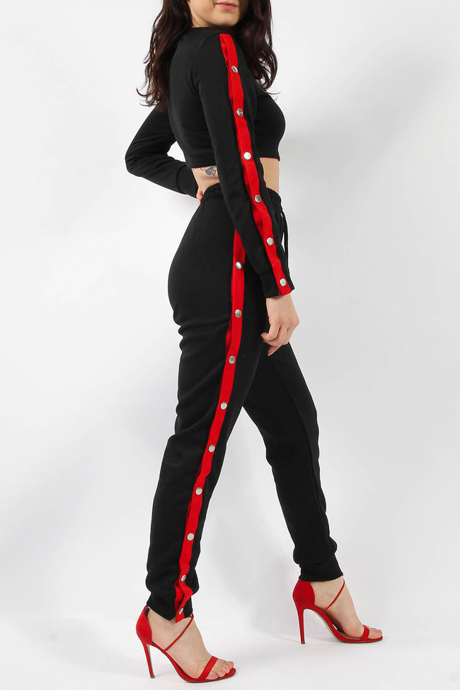 KAYLA POPPER TOP & JOGGER LOUNGE SUIT RED
