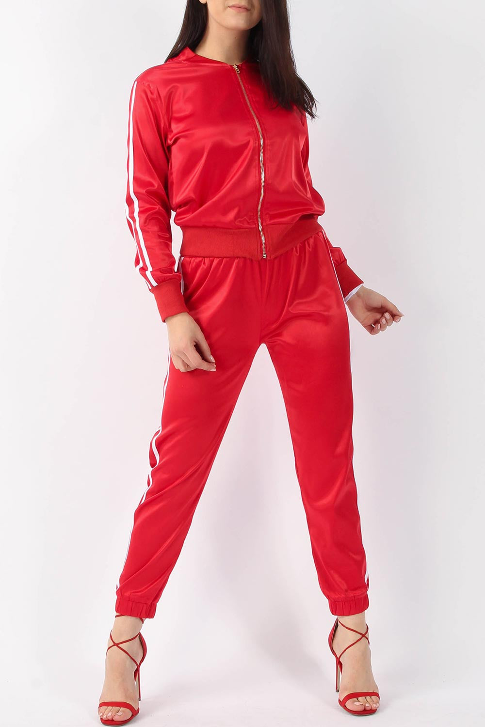 RUBY SATIN JACKET & JOGGER LOUNGE SUIT RED