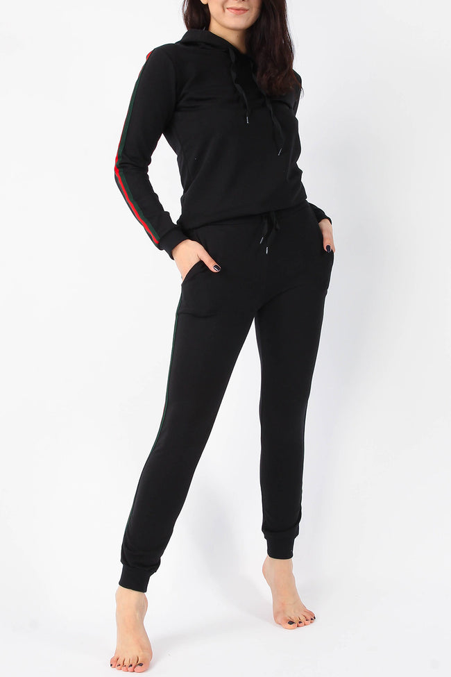 LILY STRIPE HOODIE & JOGGERS LOUNGE SUIT BLACK