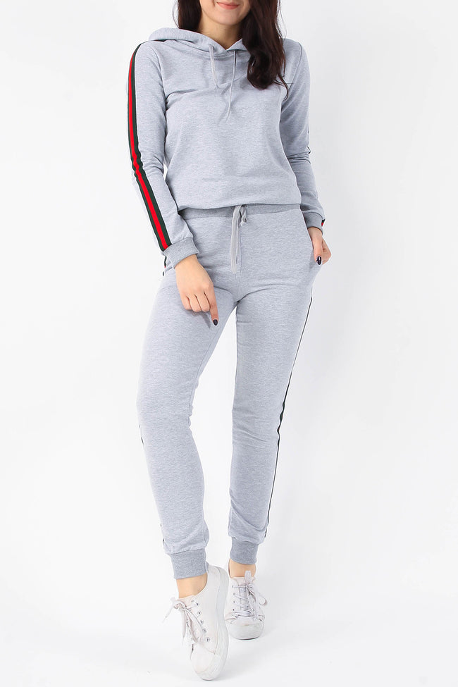 AVA STRIPE HOODIE & JOGGERS LOUNGE SUIT GREY