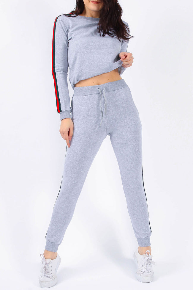 EMILY STRIPE TOP & JOGGERS LOUNGE SUIT GREY