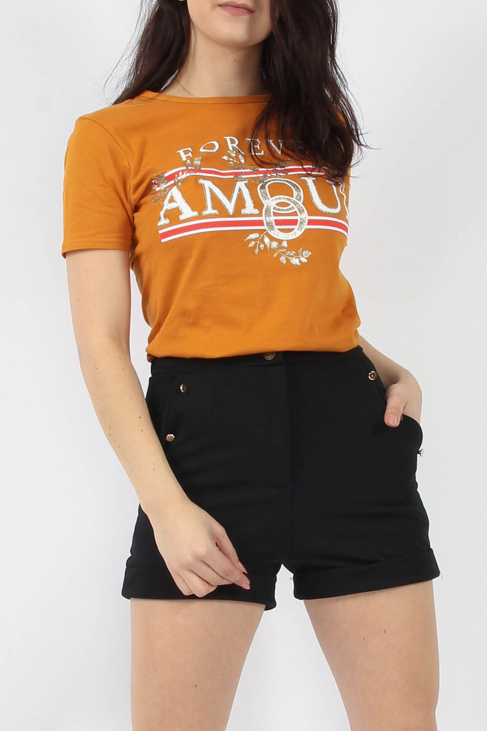 AMELIA FOREVER AMOUR PRINTED T-SHIRT- MUSTARD