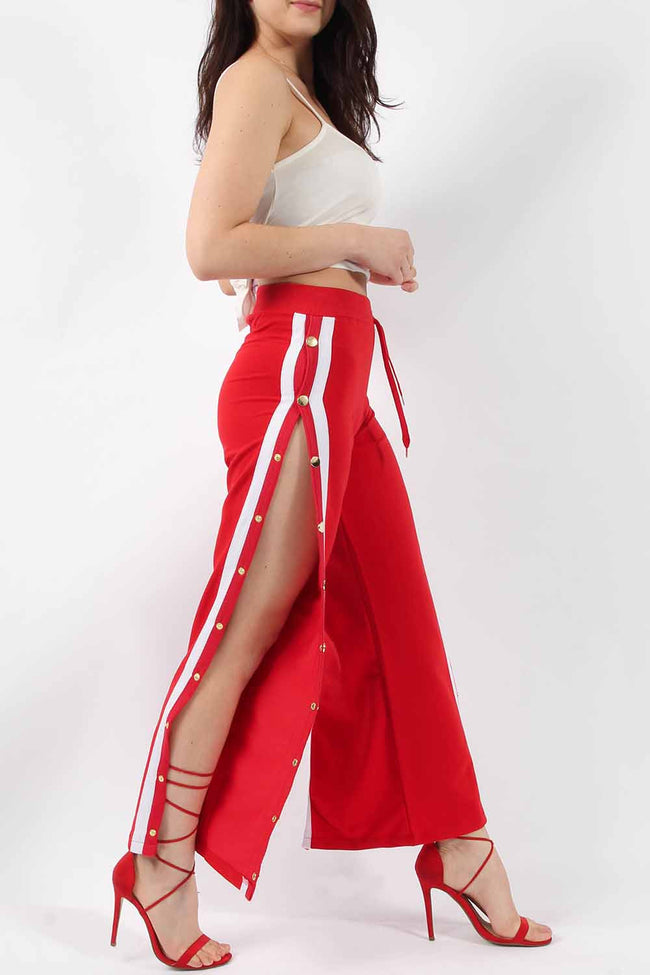 WILLOW STRIPE POPPER SIDE TROUSERS RED