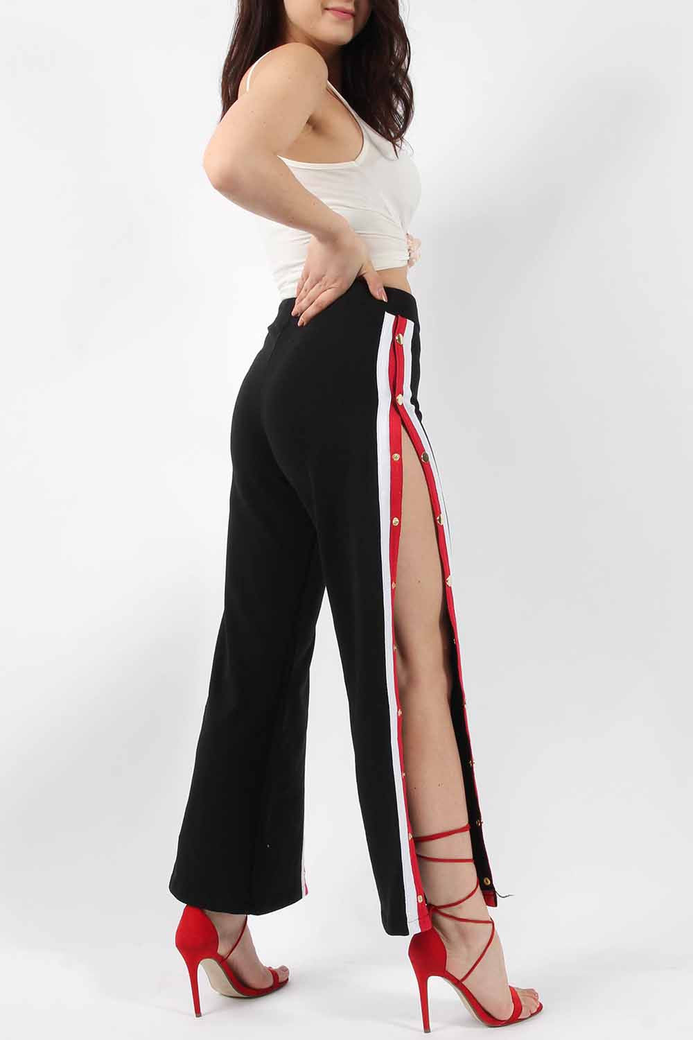 WILLOW STRIPE POPPER SIDE TROUSERS BLACK
