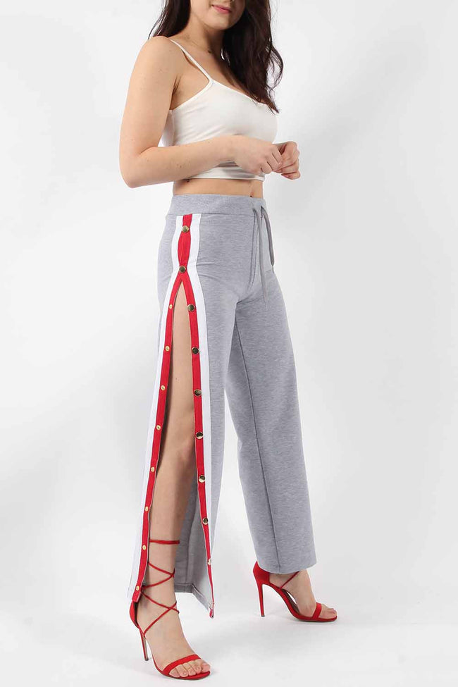 WILLOW STRIPE POPPER SIDE TROUSERS SLIVER GREY